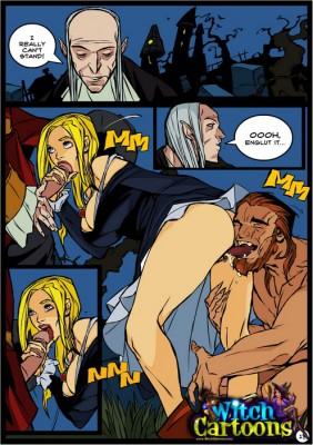 horny witch blowjob cartoon